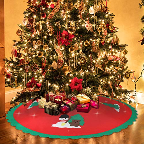 Mayepoo Runde Filz-Baumdecke 90cm Durchmesser Baumdecke Weihnachtsbaum Rock Christbaumdecke Rund Weiß,Weihnachtsbaum