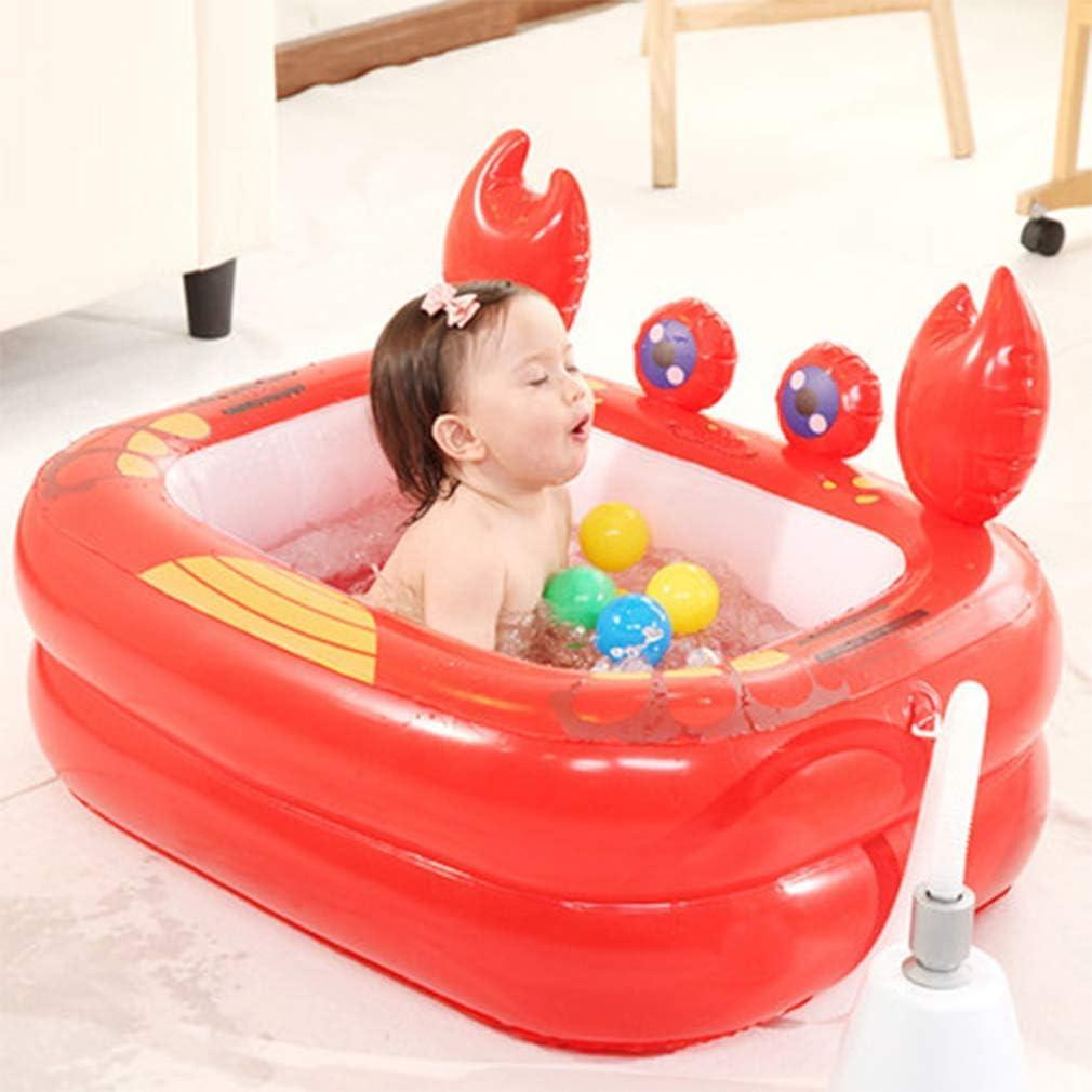SGSG Cama de Aire de Agua de Verano,Pato Amarillo Cangrejo Rojo con Material Engrosado para bañera inflada para bebés, Piscina para niños, Rojo/Amarillo