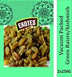 EXOTES, Green Raisins Vacuum Packed Popular Pouch 500 g Pack of 2x250grams, Natural, 1 Count