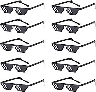 10 عبوات نظارة شمس Thug Life 8 Bit بكسل الفسيفساء نظارات شمسية للجنسين للرجال والنساء