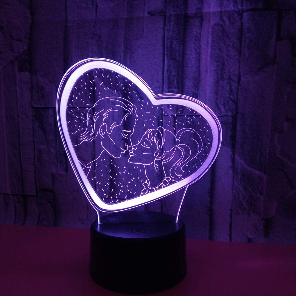 Table Lamps Over item handling Lamp Couples Love Max 64% OFF 3 LED Heart Colorful Gradient