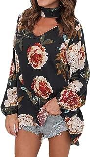 Loyomobak Womens Halter Plus Size Floral Print V Neck Long Sleeve Loose Fit Blouse T-Shirt Top