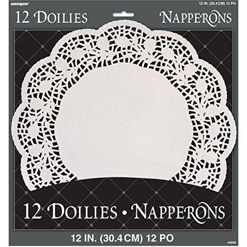 30cm papel blanco blondas, juego de 12