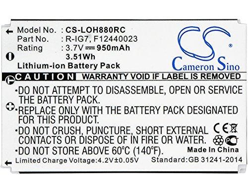 Batería Compatible con Logitech Harmony 880 Remote Li-Ion 3.7V 950mAh - 190304-2000, R-IG7, F12440023, K43D, M36B, M41B