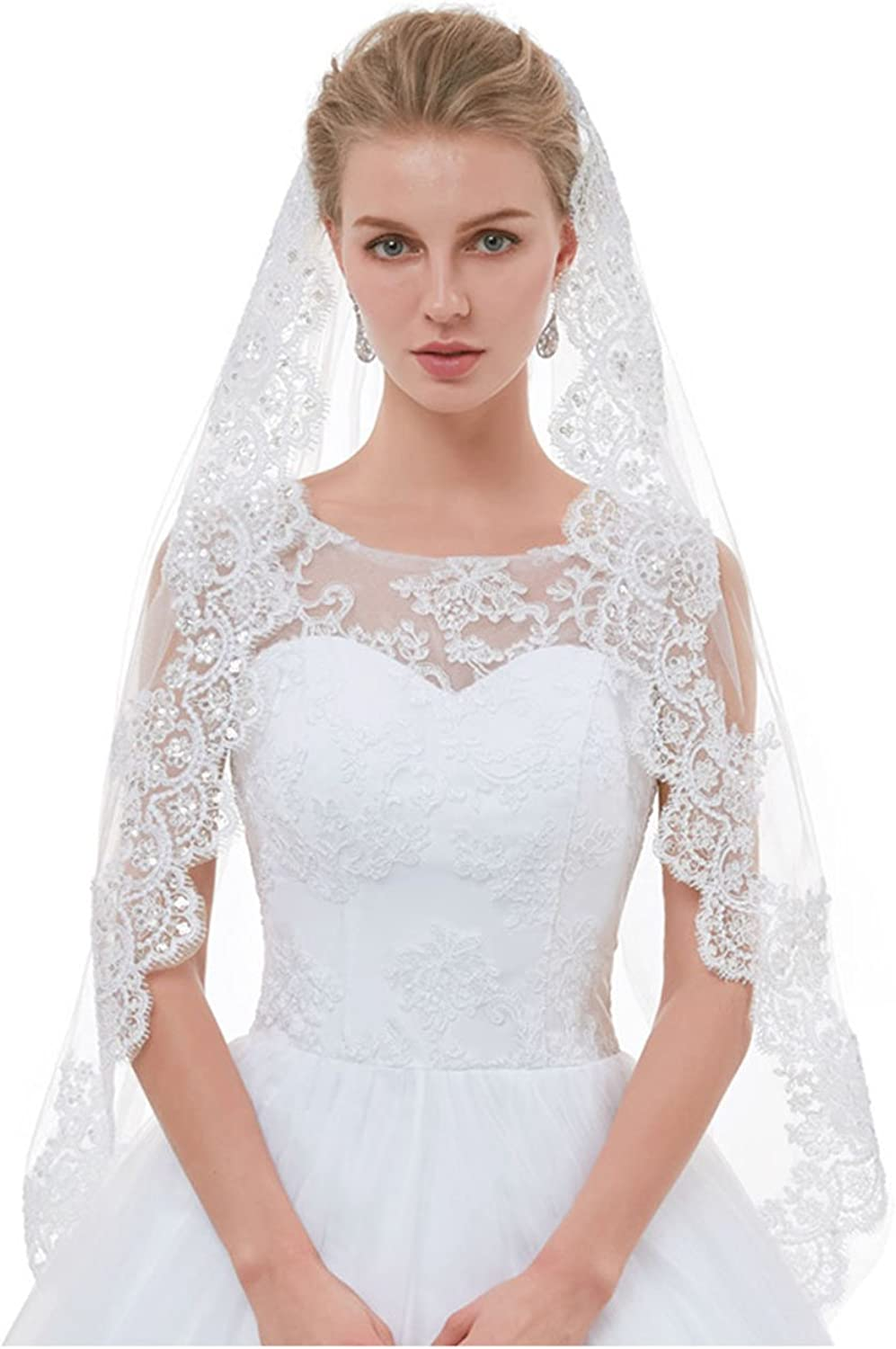 AIBIYI 1 Tier   2 Tier Lace Fingertip Veils for Brides with Comb ABYV10
