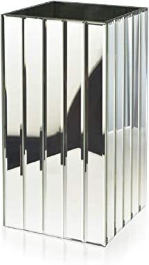 Serene Spaces Living Tall Gatsby Mirror Strip Vase – Great Gatsby Inspired Luxe Glass Vase with Bevel Edged Mirror Strips, Us