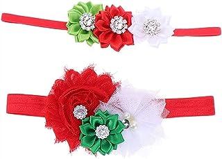 Auoeer Bande Baby Fille Bandeaux de Noël Bandes de Cheveux de Fleur pour bébé Perlé Vert Vert Fleur Vert Coiffures Holiday...