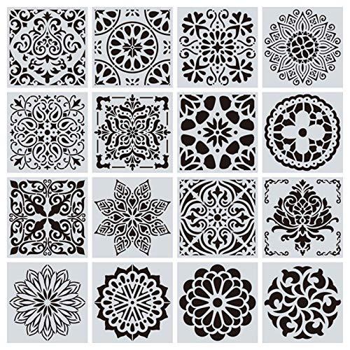 TRJGDCP 16pcs / Set herbruikbare sjablonen Cut Schildersjabloon vloer muur tegels stof meubels Stencils Mandala schilderij stencils tegelstickers