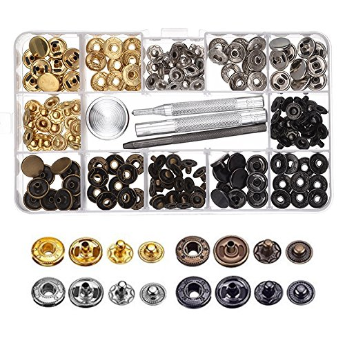 OFKPO 4 Colores 39 Set con Herramiento de Reparación para Tela, Botones de Presión de Cobre Corchetes de Presión de Ropa sin Coser, Manualidades de Cuero (12 mm)