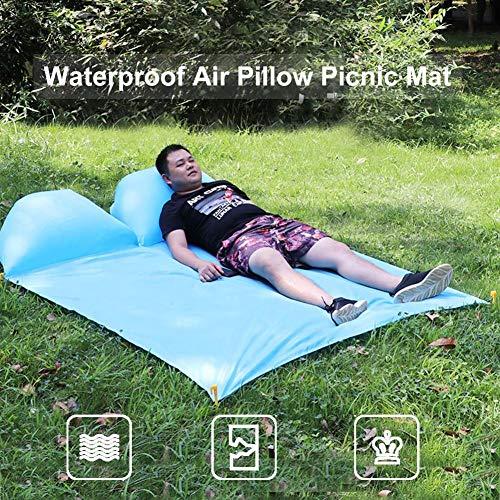 Yunhigh Neue Picknickdecke mit aufblasbarem Kissen, 2 Personen Strandmatte Zeltplane Picknickdecke Wasserdicht Sanddicht für Camping Sand Gras Reisen im Freien