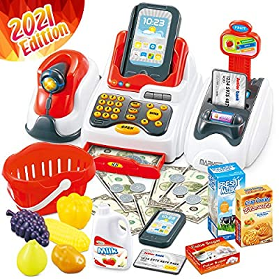Cheffun Play Cash Register Toys for Kids - Learning Toy Money Pretend Play Set Scanner Credit Reader Preschool Learning for Toddler Girls Boys Age 3 4 5 6 7+ by Cheffun