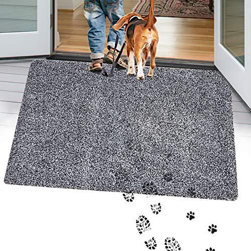TTN Home Microfiber Indoor Door Mats for Home Entrance 24' x 36' - Anti-Slip Entryway Rugs Indoor Mud Mat - Machine Washable Welcome Mats for Front Door Dog Rug (Black)