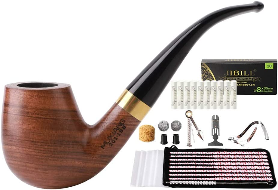 MUXIANG Tobacco Pipe Limited time sale Bent Billiard Deluxe 8mm Wood Activated Pear