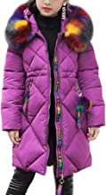 OCHENTA Girls' Puffer Down Coat Winter Jacket with Faux Fur Trim Hood