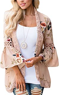 Womens Kimono Cardigans Floral Print Chiffon Beach Cover ups Loose Casual Tops