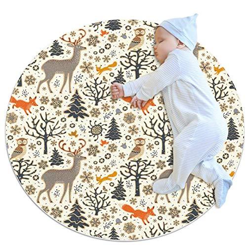 chuangxin met de hand getekend bos dieren patroon modieus activiteit mat vloerbedekking tapijten anti-slip voor kinderen peuters slaapkamer27.6x27.6IN