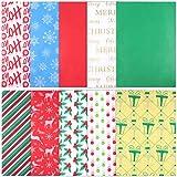 NUOBESTY 150 Piezas de Papel de Seda de Navidad Hojas de Embalaje de Colores a Prueba de Agua Papel de Envoltura de Papel de Seda para El Festival de Vacaciones de Flores Embalaje de