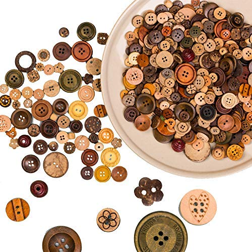 Bulk Lots|Assorted Random| Ocean, 20mm 200-pack 20mm Painted Wooden Buttons for Craft Swing Natural Wood
