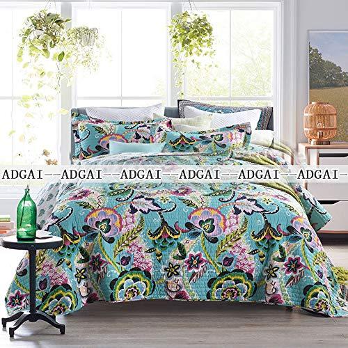 ADGAI 2020 sprei, gewatteerd, katoen, 3-delig, gewatteerd, groen omkeerbaar, Morning Glory King Size 230 x 250 cm, lichte decoratieve deken met 2 kussenslopen