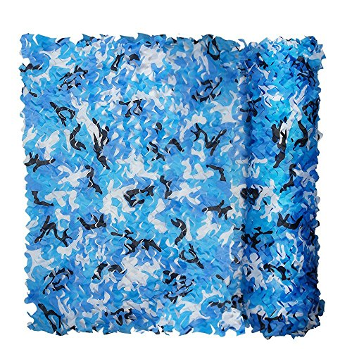 FUZKI Red de camuflaje 1,5 m, 2 m, 3 m, 4 m, 5 m, 6 m, 7 m, 8 m, 9 m, 10 m, 15 m, 20 m, red de camuflaje sin rejilla, para niños, militar, protección solar, para cacería, tiro, decoración de jardín militar, parasol de fotografía, Infantil, azul, 1.5x6M=4.9x19.7ft