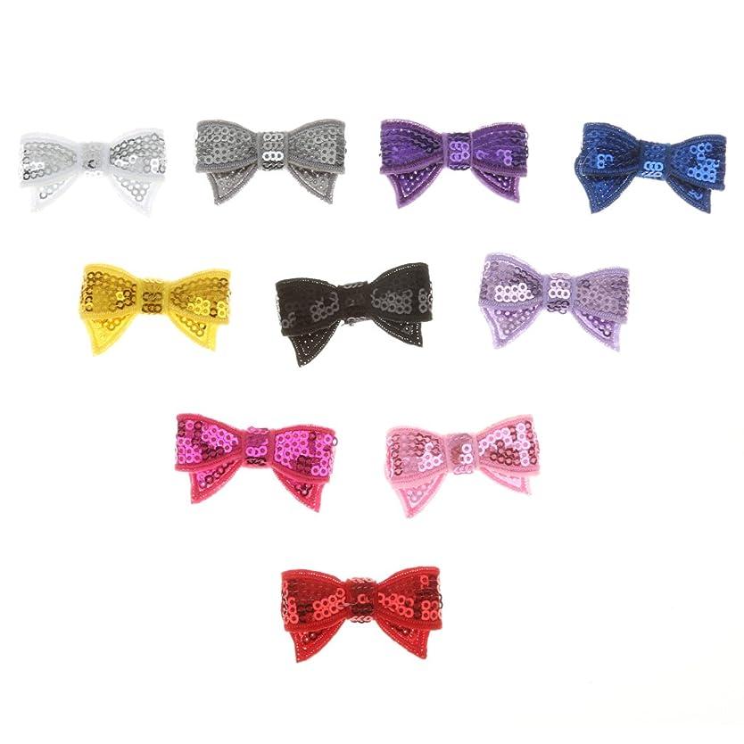 Lovoski 蝶 ネクタイ DIY ヘアバッド キラキラ 子供の髪 パーティー飾り 10個入り 全3色選べ - スパンコール