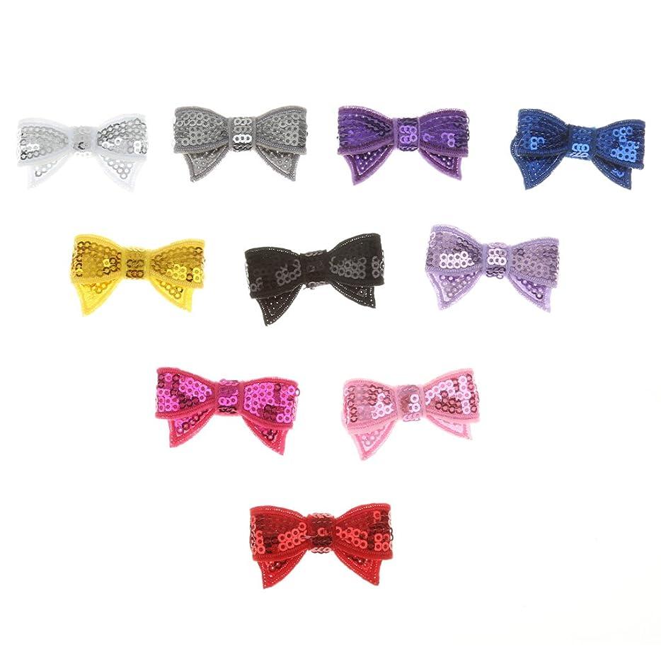 ひねくれた適合ほこりLovoski 蝶 ネクタイ DIY ヘアバッド キラキラ 子供の髪 パーティー飾り 10個入り 全3色選べ - スパンコール
