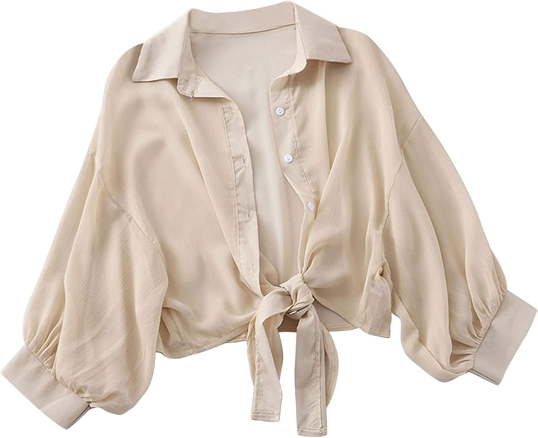 CHICTRY Women Chiffon Bolero Shrug Jacket Half Sleeve Tie Front Cardigan