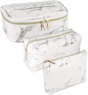 SUBANG 3 Pack Marble Makeup Bag Toiletry Bag Travel Bag Portable Cosmetic Bag Makeup Brushes Bag Waterproof Organizer Bag for Women Girls Men