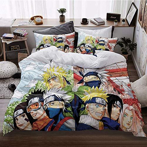 DFRE - Juego de ropa de cama para niños, con funda nórdica y 2 fundas de almohada, microfibra, impresión 3D, juego de edredón para niños, diseño de moda Naruto (12,135 x 200 cm + 80 x 80 cm)