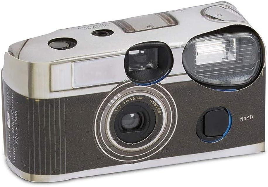 Paquete de 10 cámaras desechables con flash diseño vintage y de color negro