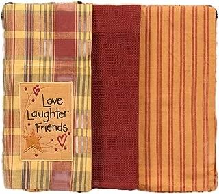 Country Primitive Star and Berries Vine Dishtowel Set of 3 Cotton Tea Towels