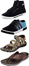 Maddy Men's Black, Brown and Blue Synthetic Sneaker, Loafer, Slipper & Sandal in Various Sizes Combo