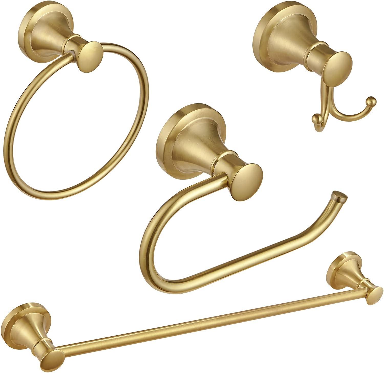 BESy Tulsa Mall Brushed Gold 4 Piece Accessories Bargain Bathroom Towe Single Set