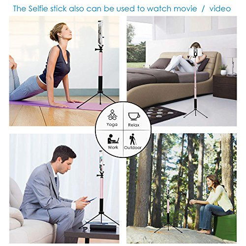 Bluetooth Selfie Stick Tripod, Remote 59Inch MFW Extendable Monopod with Tripod for iPhone 11/11 PRO/X/XS max/XR/8/7/6/Plus,iPad,Samsung S9 S7/S8, LG, Google Pixel Android,GoPro Cameras (Rose Gold)