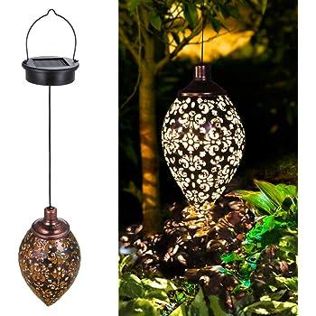 Hanging Solar Lights Tomshine Solar Lantern LED Garden Lights Metal Lamp Waterproof for Outdoor Hanging Decor