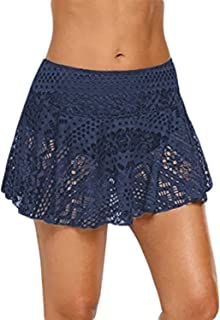 ChinFun Women's Lace Crochet Skirted Bikini Bottom Swimsuit Short Skort Swimdress