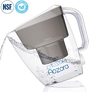 Aozora Water Filter Pitcher 10 Cup Capacity BPA Free with 4-Stage for Reducing Lead, Mercury, Removing Chlorine Taste & Odor, White-001