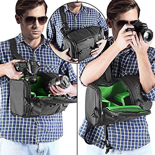 Neewer Zaino Monospalla Professionale per Nikon Canon Sony e Reflex Digitali e Obiettivi/Treppiedi Accessori/Durevole Impermeabile Antistrappo con Divisori Imbottiti