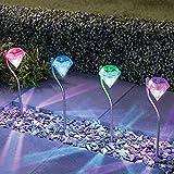 4 X Luces Solares Focos LED Luz Solar Exterior Jardin Decoracion, Resistentes a la Lluvia Con Cambiar el Luz de Color y Forma de Diamante Perfectos para Camping, Jardines, Patios, Caminos, etc de NORDSD
