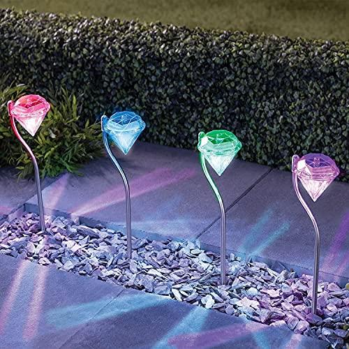 Solarlampe für Außen Garten , 4 x Solar Diamant Gartenleuchten Außen Solarleuchten Wasserdicht für Balkon,Balkonkasten,Blumenkästen und Terrasse Dekoration