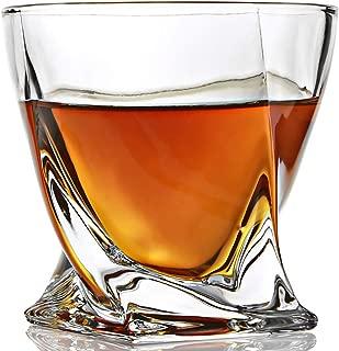 ELIDOMC Twist Whiskey Glasses, Set of 4 10 OZ Whiskey Glasses Set for Drinking Bourbon, Scotch, Cocktail, Irish Whisky, 100% Lead Free Cocktail Glasses With Luxury Gift Box