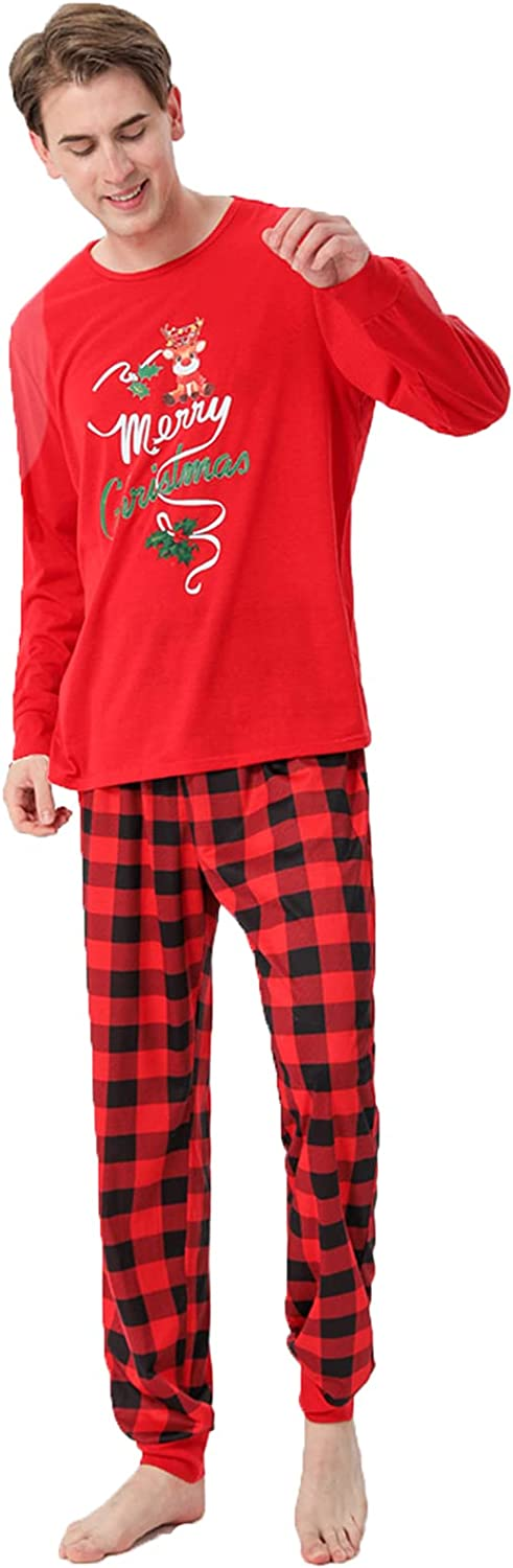 Matching Family Pajamas Sets Christmas Red Cute Printed Sleepwear Set with Plaid Bottom Home Holiday Xmas Pjs Outfits