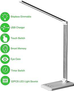 چراغ میز نشیمن، چراغ صفحه نمایش مراقبت از چشم، چراغ دفتر قابل تنظیم با پورت شارژ USB، عملکرد لمسی / حافظه / تایمر، 25 روشنایی روشنایی، لامپ فشرده برای خواندن، مطالعه، کار، Himigo، سفید