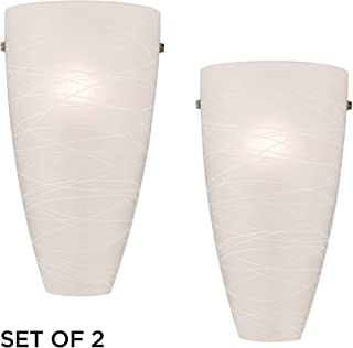 Isola Modern Wall Light Sconces Set of 2 White Striped Glass Pocket Hardwired 13 1/4