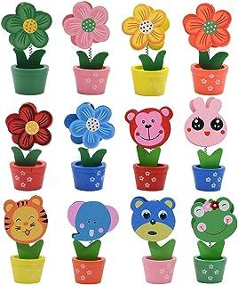 Portafoto creativo con base in legno, stile cartone animato, motivo: animali e fiori, decorazione per feste, con clip per ...