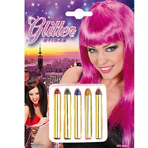 NET TOYS Maquillage Paillettes Crayons Make up Crayons de Maquillage Mardi Gras Carnaval Maquillage pour Enfant Paillettes Maquillage de déguisement Maquillage de Carnaval