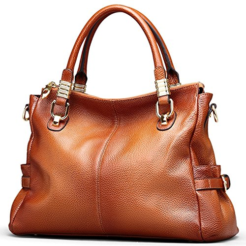 AINIMOER Womens Soft Vintage Genuine Leather Tote Shoulder Bag Top-handle Crossbody Handbags Ladies' Messenger Purse(Sorrel)