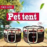 Easylifer Tragbare Falten Stoff Pet Play Pen Welpen-Hundekatze Kaninchen Meerschweinchen Playpen Run Playpen Crate Cage Kennel Spielen Ten (S, Kaffee) - 4