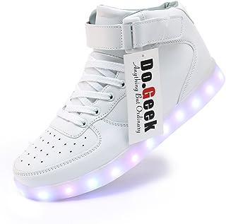 09575e6d2a2d5 DoGeek -Chaussure Basket LED Hommes Femmes -7 Couleurs lumière -USB  Rechargeable