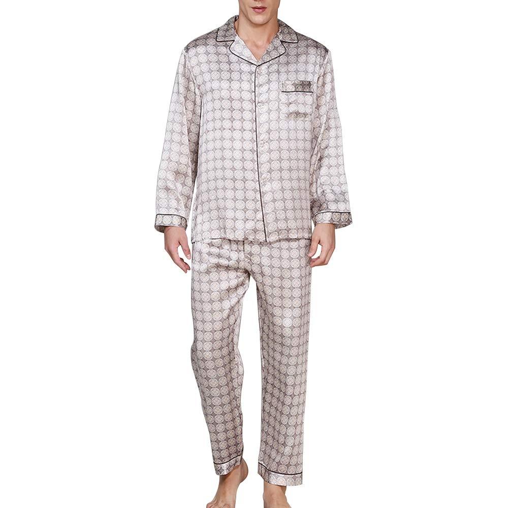 HONGNA Camisa For Hombre Pantalones De Manga Larga Pijama De Solapa Conjunto 100% Tela De Seda Ropa Casual For El Hogar (Color : Photo Color, Size : L): Amazon.es: Hogar